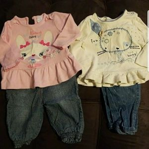 Other - Long Sleeve 6-9 M Shirt and Jeans Bundle